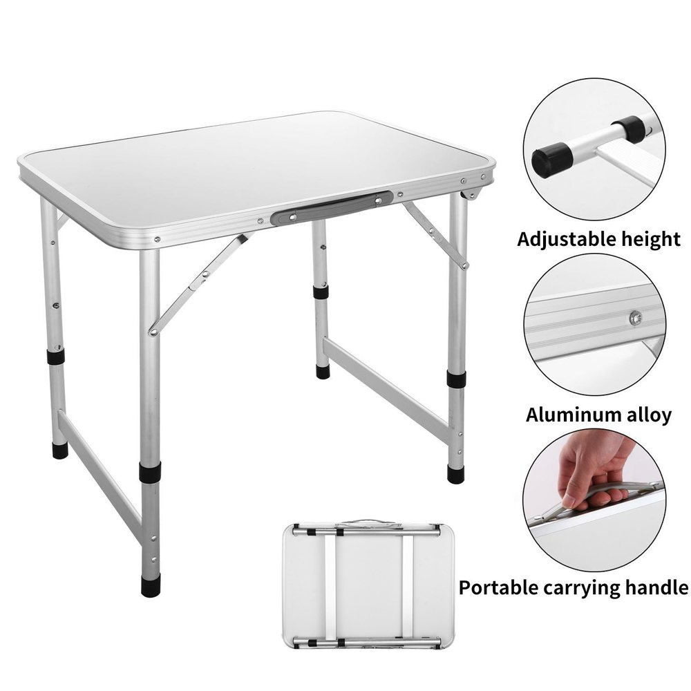 Meflying Height Adjustable Outdoor Folding Table Portable Camping Table Aluminum Picnic Table for Camping, Hiking, BBQ, Beach (US Stock)