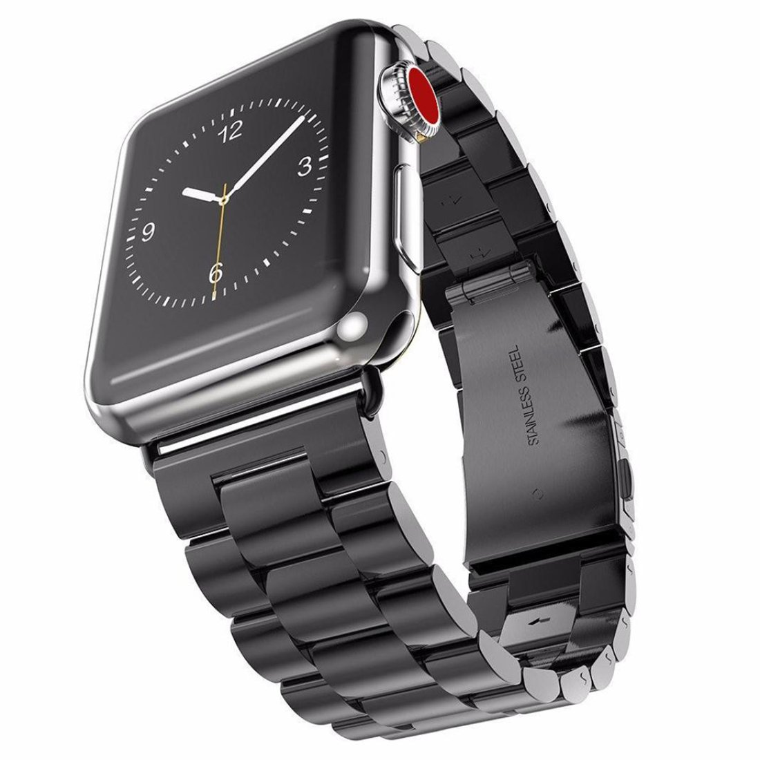 Apple Watchバンド、Hanyi Luxuryステンレススチール時計バンド交換用ストラップfor Apple I Watchシリーズ3 42 MM|Black Stainless Steel Black Stainless Steel 42 MM B076P6MLBY