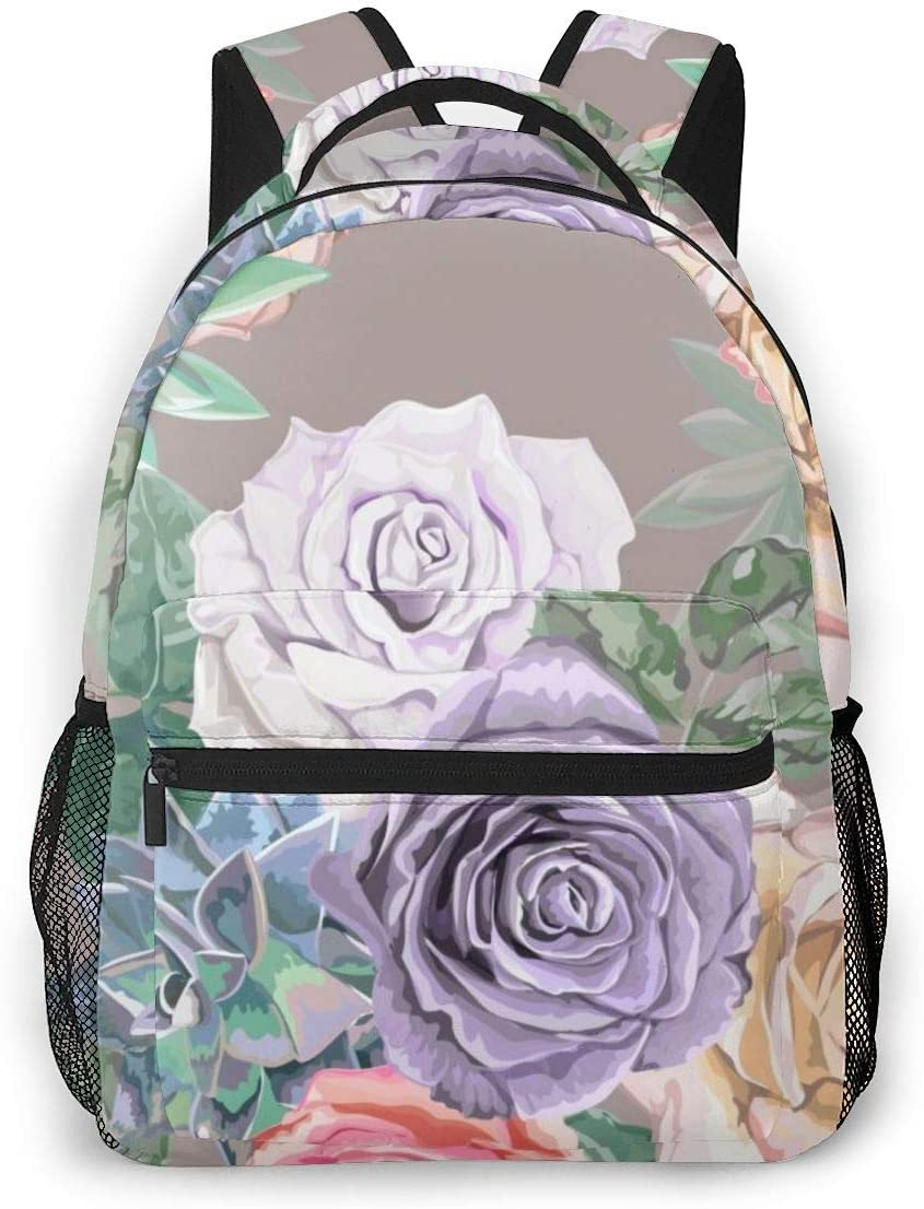 Sweet Rose Seamless Pattern Durable Kids Back To School Backpack Polyester Book Bag For Boys Girls Adults