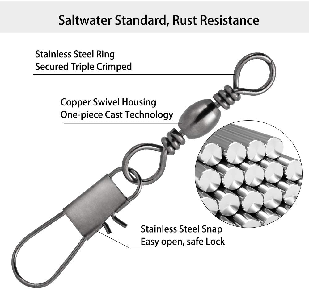 Details about  /tackle Durable Connector Oval Split Rings Fishing Hanging Snap Barrel Swivel