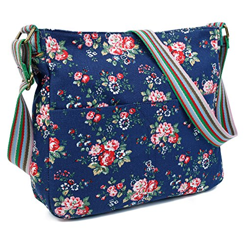 Apricot Body Craze London Womens Bag Trendy Flower Messenger Design Flower Shoulder Canvas Cross q76rwqU8x