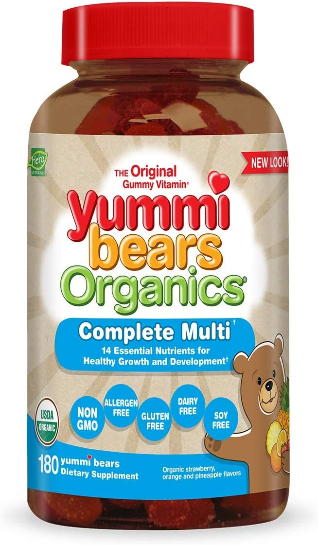 Yummi Bears Organics Complete Multi Vitamin and Mineral Supplement, Gummy Vitamins for Kids, 180 Count