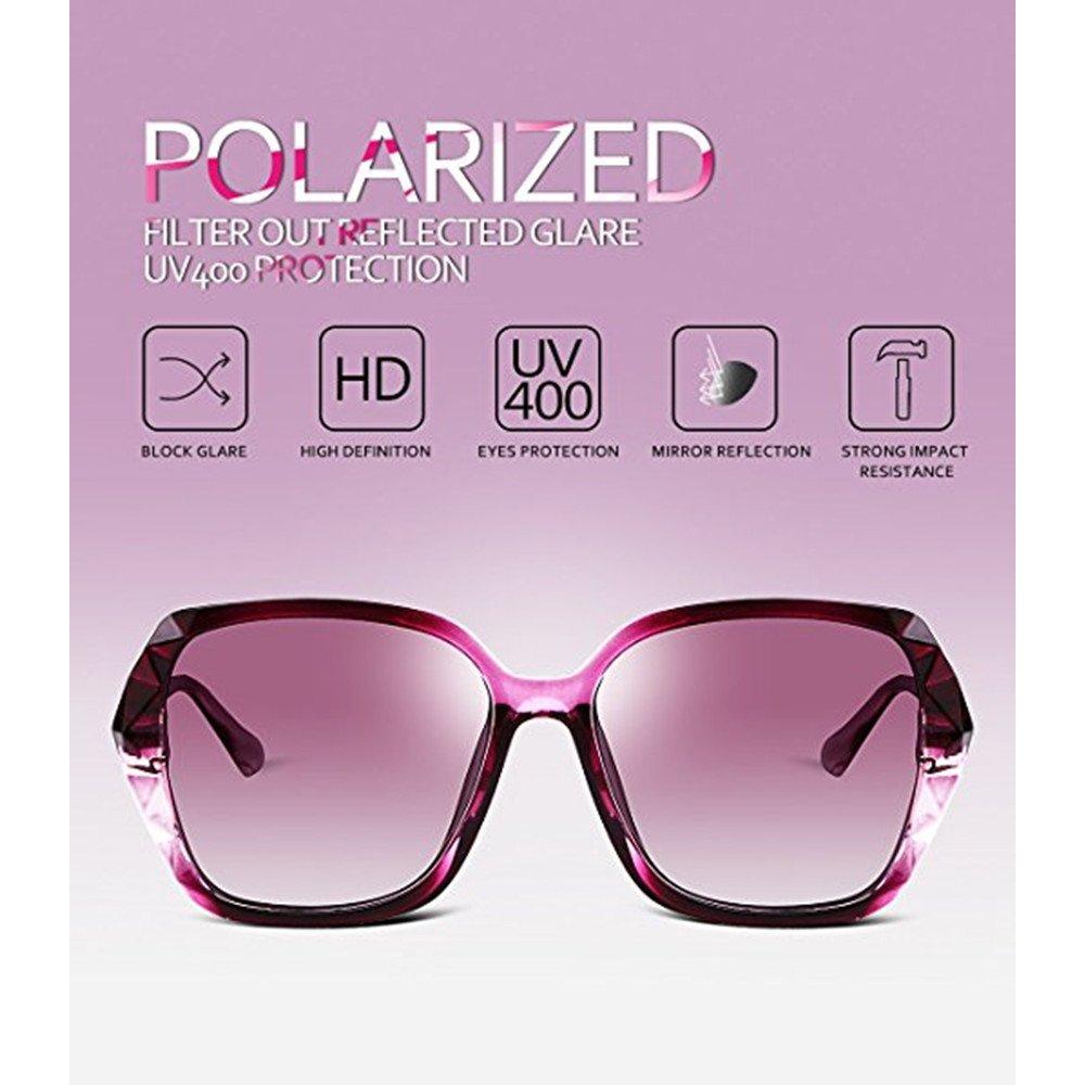 24f00dcf3d7 Amazon.com  2018 Women Classic Oversized Polarized Sunglasses Fashion  Modern Shades 100% UV Protection (Purple)  Sports   Outdoors