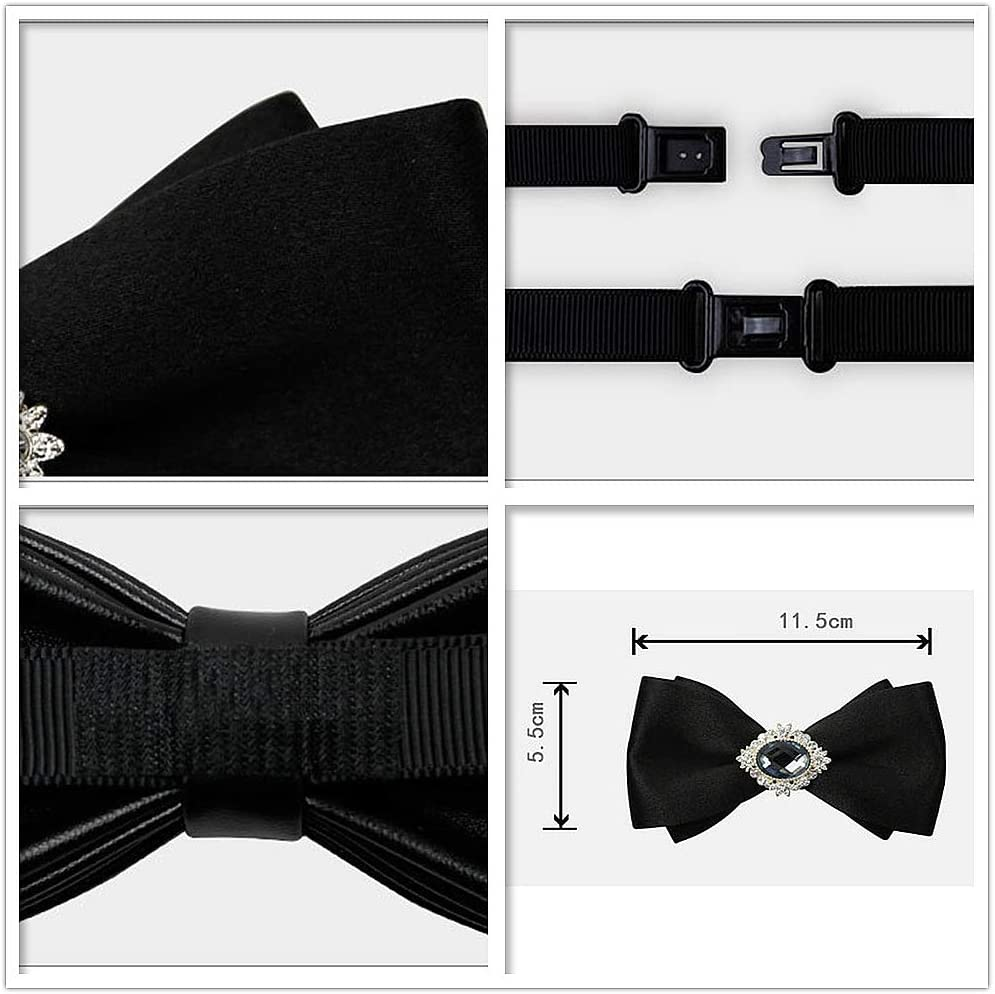 Color : Black Fashion Mens Tie Crystal Bow Tie Classic Pre-Tied Formal Casual Bowtie for Suits and Tuxedos Adjustable Length Variety Colors Available Necktie