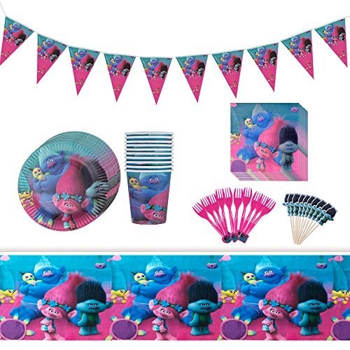 Trolls Birthday Party Supplies 82 Items- Party Bundle Decorations For 10 Guests-