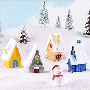 COOLTOP 5PCS Snow Villa House Winter Christmas Miniature Ornament Kits for DIY Fairy Garden Dollhouse Decoration, Christmas Scene Fairy Garden Micro Landscape Accessories Décor
