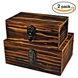 dvd storage cabinet with lock - 2 Sets Jewelry Box,Wooden Storage Box,Icefire Handcraft Wood Box Kit,Case Cabinet Container with Lock and Key Rustic Western for Keepsake,Photo,Trinket,Letter,Document Organizer (Retro yellow)
