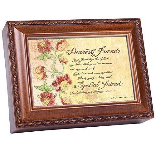 Cottage Garden Dearest Friend Filled My Heart Woodgrain Rope Trim Jewelry Music Box Plays Friend in Jesus