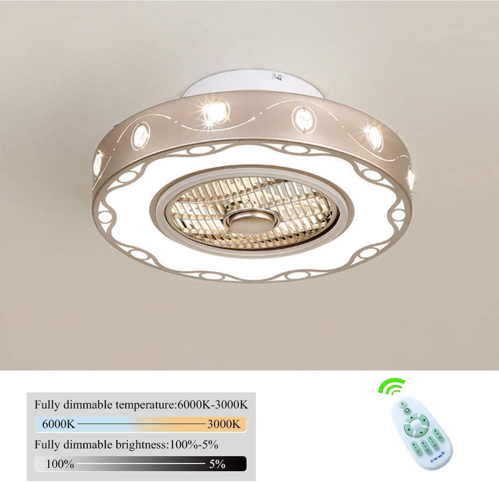 Ventilador De Techo Con Luces De Techo Lámpara De Techo LED De Luz Del 3 Velocidades Ajustables Y 3 Colores Regulable Con Mando A Distancia Led Lámpara De Techo Para El Dormitorio Sala,50cm/36W
