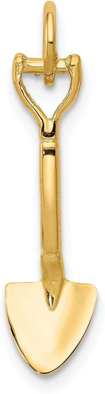 14K Yellow Gold 3D Spade Charm Shovel Garden Jewelry
