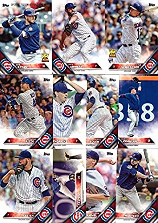2016 Topps Series 1 Chicago Cubs Baseball Card Team Set 11 Card Set Includes Kris Bryant Kyle Schwarber Anthony Rizzo Jake Arrieta Jon