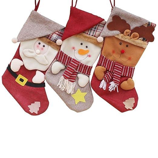 afce13e31 KAMA BRIDAL Personalised Christmas stocking Classic Holiday 3 Pcs Set Toys  Red