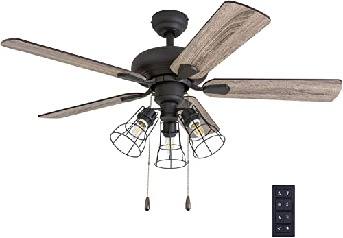 Prominence Home 50752-01 Madison County Industrial Ceiling Fan 3 Speed Remote
