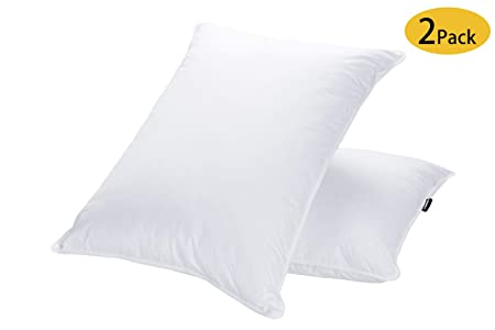 JA COMFORTS Goose Down and Feather Bed Pillows for Sleeping (2 Pack)- Standard/Queen(20IN×28IN), Hotel Collection, Natural Filling, Natural Cotton Cover, White sleep pillows - 618zGjs 2B1fL - Sleep pillows review – buying guide and review for sleep pillows