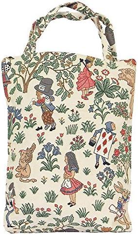 Alice nel Paese delle Meraviglie Signare Tapestry arazzo Borsa Riutilizzabile Shopper Donna olding Shopping Bag Donna con Disegni da Giardino Shopping Pieghevole Borsa