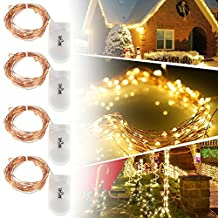 Tomshine 4PCS 2M/6.6FT 20LEDs LED Starry Copper Wire String Battery Operated Extra Thin Bendable Warm White Light Strip Christmas Holiday Festival Decorations