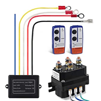 Amazon.com: WATERWICH 12V 250A Winch Solenoid Relay Contactor+2pcs Wireless  Winch Remote Control Kit with 6 Protecting caps Universal for Truck Jeep  ATV SUV 2000-5000lbs Winch: Industrial & Scientific | Winch 12 Volt Relay Wiring Diagram |  | Amazon.com