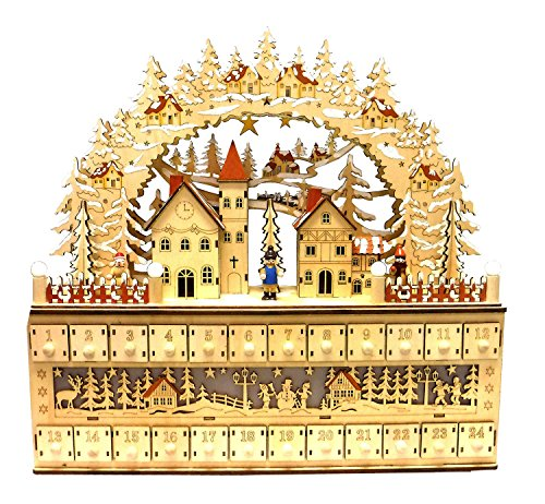 Bavarian Style Wooden Christmas Advent Calendar w/ Drawers (Alpine Village Scene) by One Hundred 80 Degrees