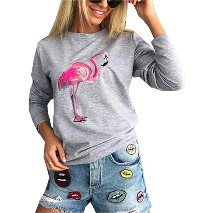 Otoño Invierno Mujeres Sudaderas Moda Flamingo Impresión Pulóver Blusa Jumpers T-Shirt Casual Cuello Redondo Tops de Manga Larga Sweatshirt Jerseys Blouses: ...