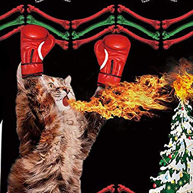 STORTO Men Women Novelty Cat 3D Print Hooded Sweatshirt Christmas Funny Pullover Tops