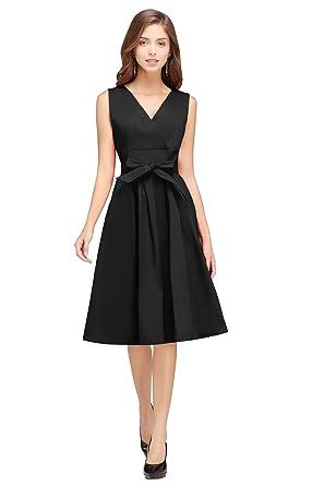 Misshow Women Vintage Cocktail Dress Junior Midi A Line Party Gown, Black, M