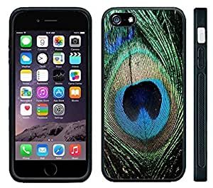 Apple iPhone 6 Black Rubber Silicone Case - Peacock Feathers Bird Green Beautiful