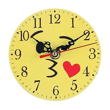 ROSENICE Reloj de dormitorio redondo Cartoon Expression ...