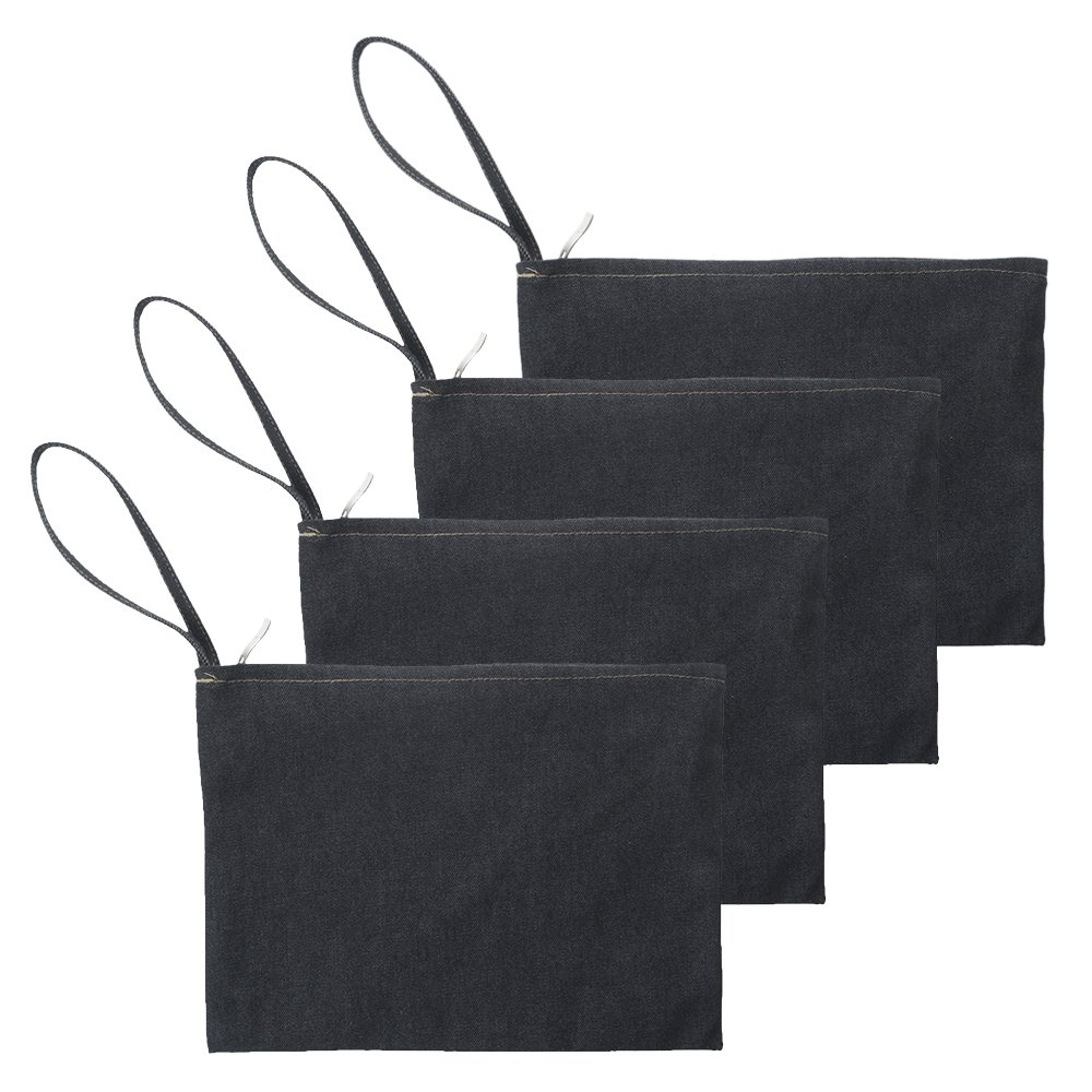 "Aspire 4 Pcs Denim Zipper Tool Bags, 11"" X 8"" Organize Travel Pouch Black by Aspire"