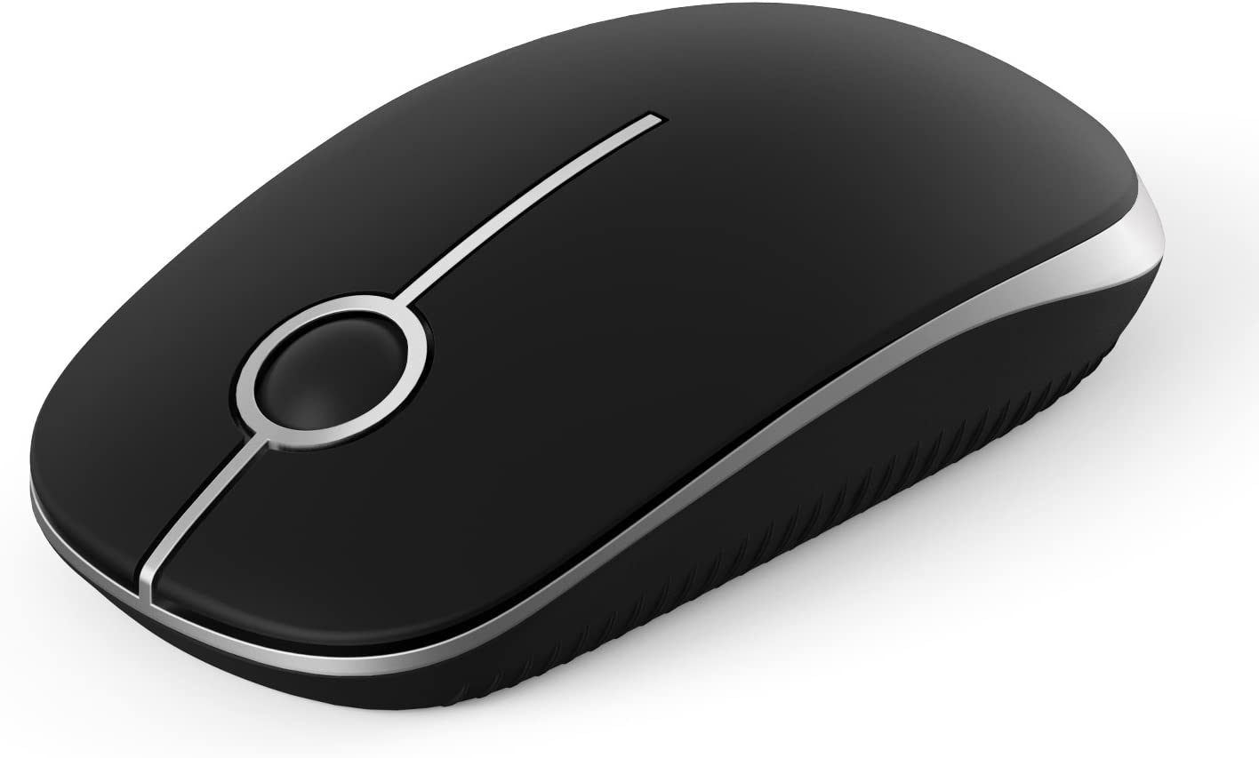 Jelly Comb 2.4G Slim Wireless Mouse with Nano Receiver, Less Noise, Portable Mobile Optical Mice for Notebook, PC, Laptop, Computer, MacBook MS001 (Black and Silver)
