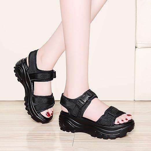 4348ba834053f KJJDE Femmes Chaussures Compensées Sandales JZTC-8954 Velcro En Tissu  Élastique Bout Ouvert Sangle De