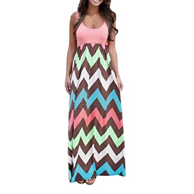 71fb34ea5f Women Maxi Dress Beach Dress Printing Knielang Sleeveless Round Collar A