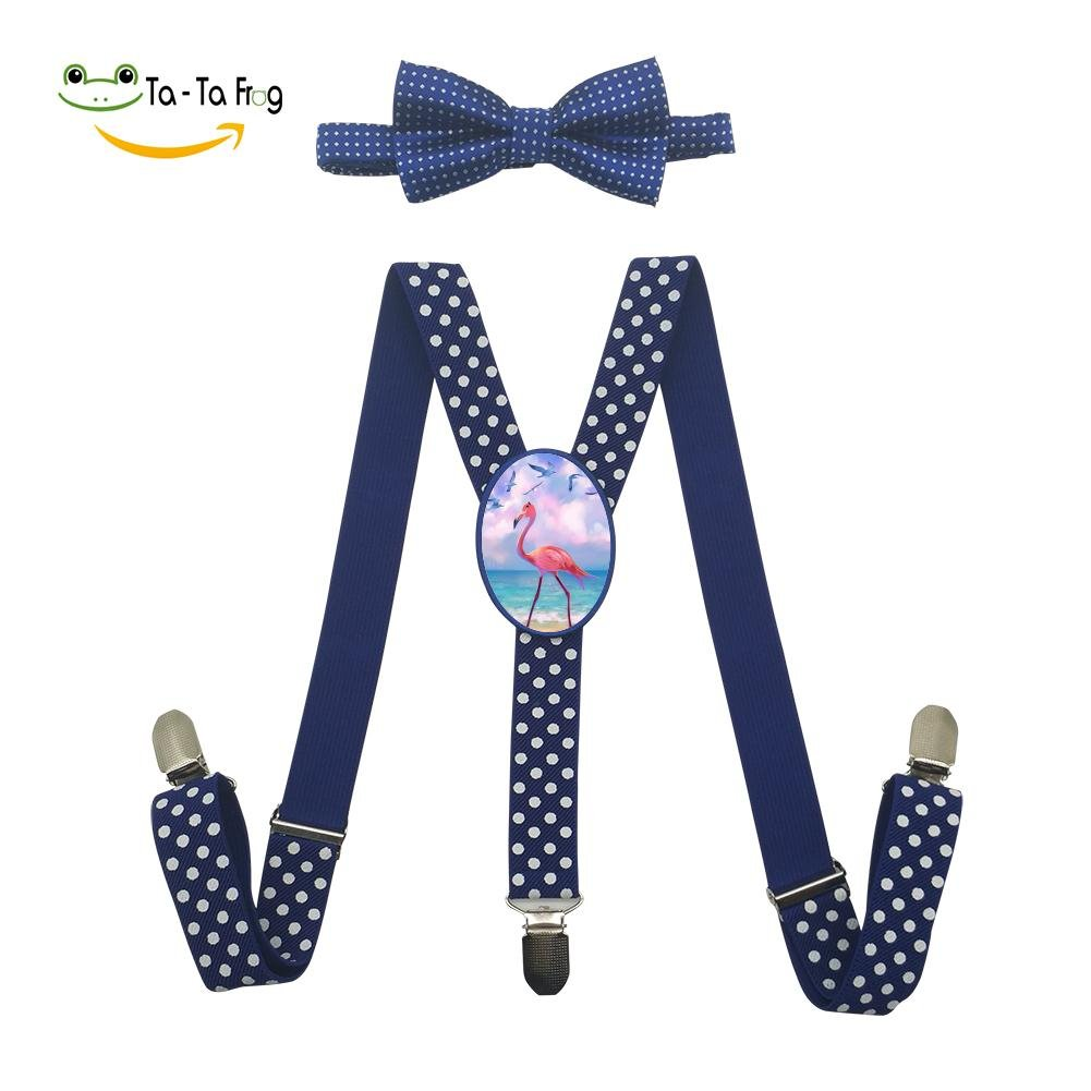 Xiacai Art Flamingo Suspender/&Bow Tie Set Adjustable Clip-On Y-Suspender Boys