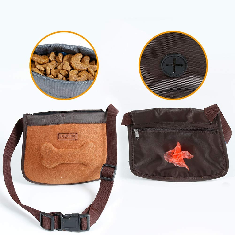 Brown Albabara Dog Treat Training Pouch, Durable Pet Snack Dummy Bag Container Poop Bag Dispenser with Adjustable Waist Belt Convenient and Easy to Carry for Pet Toys, Treats, Keys