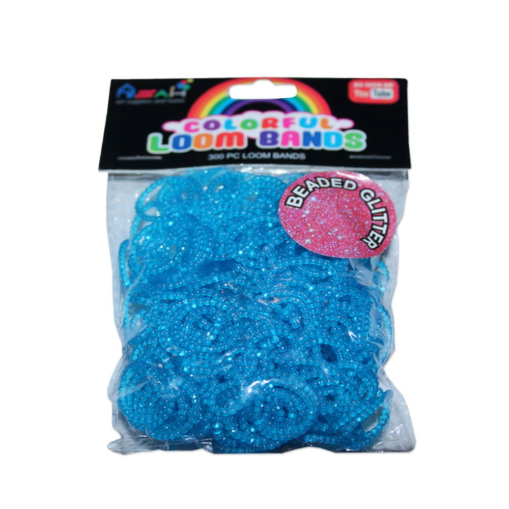 Colour Beaded Glitter Loom Bands 300pce + 16 S Clips - Blue Art Supplies & Home