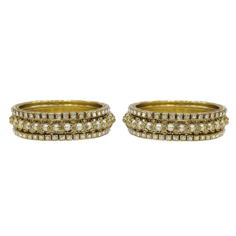 MuchMore Glamorous Traditional Indian Bollywood Style Antique Gold Plated Polki Bangle Jewelry MB-88