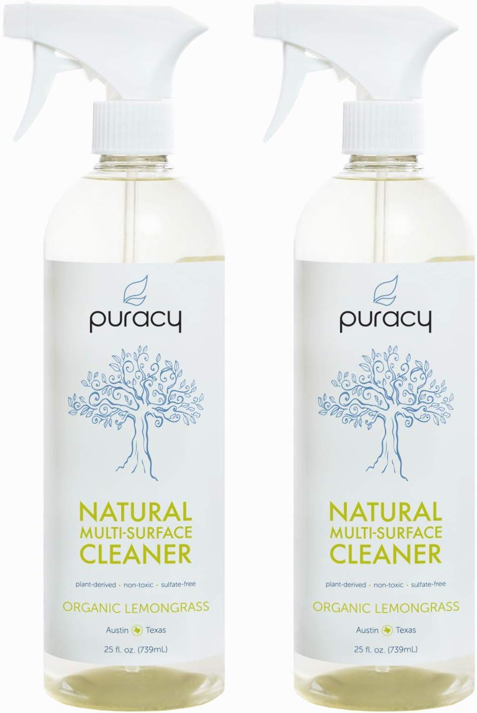 Puracy Natural All Purpose Cleaner, Streak-Free Household Multi-Surface Spray, Organic Lemongrass, 25 Ounce (2-Pack)