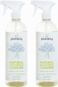 Puracy Natural All Purpose Cleaner, Streak-Free Household Multi-Surface Spray, Organic Lemongrass, 25 Ounce (2-Pack)