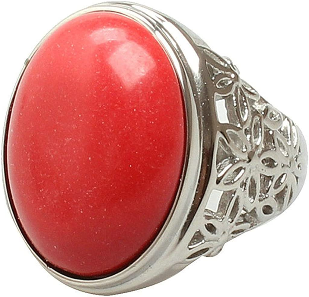Aooaz Mens Stainless Steel Ring Silver Plated Oval Red Stone Royal Wedding Band Retro Promise Ring Charm