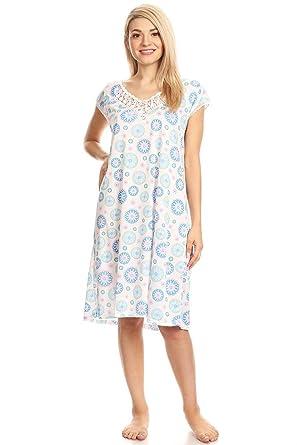 2ad6562f96 Lati Fashion 803 Womens Nightgown Sleepwear Cotton Pajamas - Woman  Sleeveless Sleep Dress Nightshirt Blue M