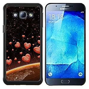 KLONGSHOP // Cubierta de piel con cierre a presión Shell trasero duro de goma Protección Caso - Amor Corazones espaciales - Samsung Galaxy A8 A8000 //