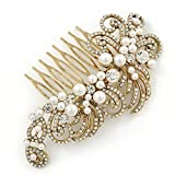 Vintage Inspired Bridal/ Wedding/ Prom/ Party Gold Tone Clear Crystal, Simulated Pearl 'Feather' Side Hair Comb - 100mm