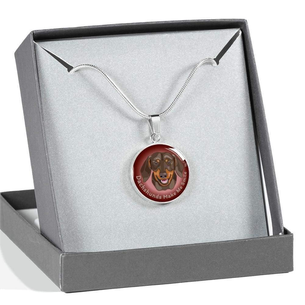 DuFauna Chocolate and Tan Coat//Burgundy Dachshunds Make Me Smile Necklace D19 Steel or 18k Gold Finish 18-22 Many Colors