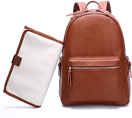 Mexzy Nappy Bag Backpack Large Waterproof Unisex Baby Nappy Backpack Leather Nappy Stylish Bags For Mum Dad Women Boys And Girls With Pram Straps Sport Freizeit