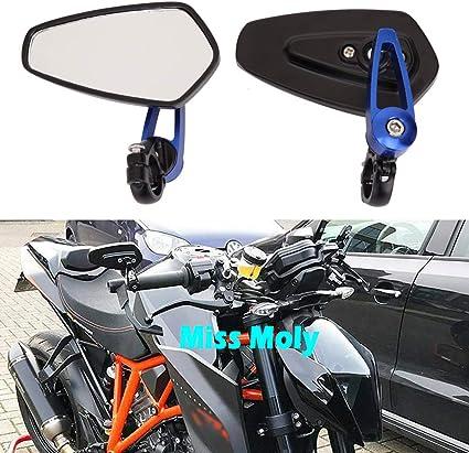 Qiilu 7//8 22mm R/étroviseurs Lat/éraux Miroir Arri/ère Vue et Embouts de Guidon Universal Motorcycle Moto Alliage daluminium Bleu 1 Paire