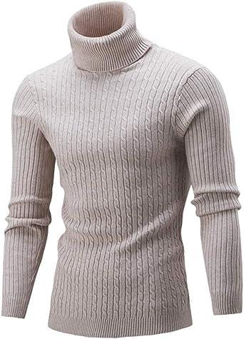 Minetom Jersey De Punto Hombre Camisa Manga Larga Cuello Alto Suéter Punto Fino Ocio Slim Fit Suéter Básico Suéter De Cuello Alto
