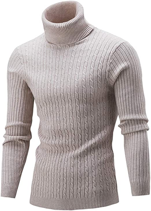Homme Chaud Tricoté Manches Longues Support Col Pull Hiver Pull Tricot