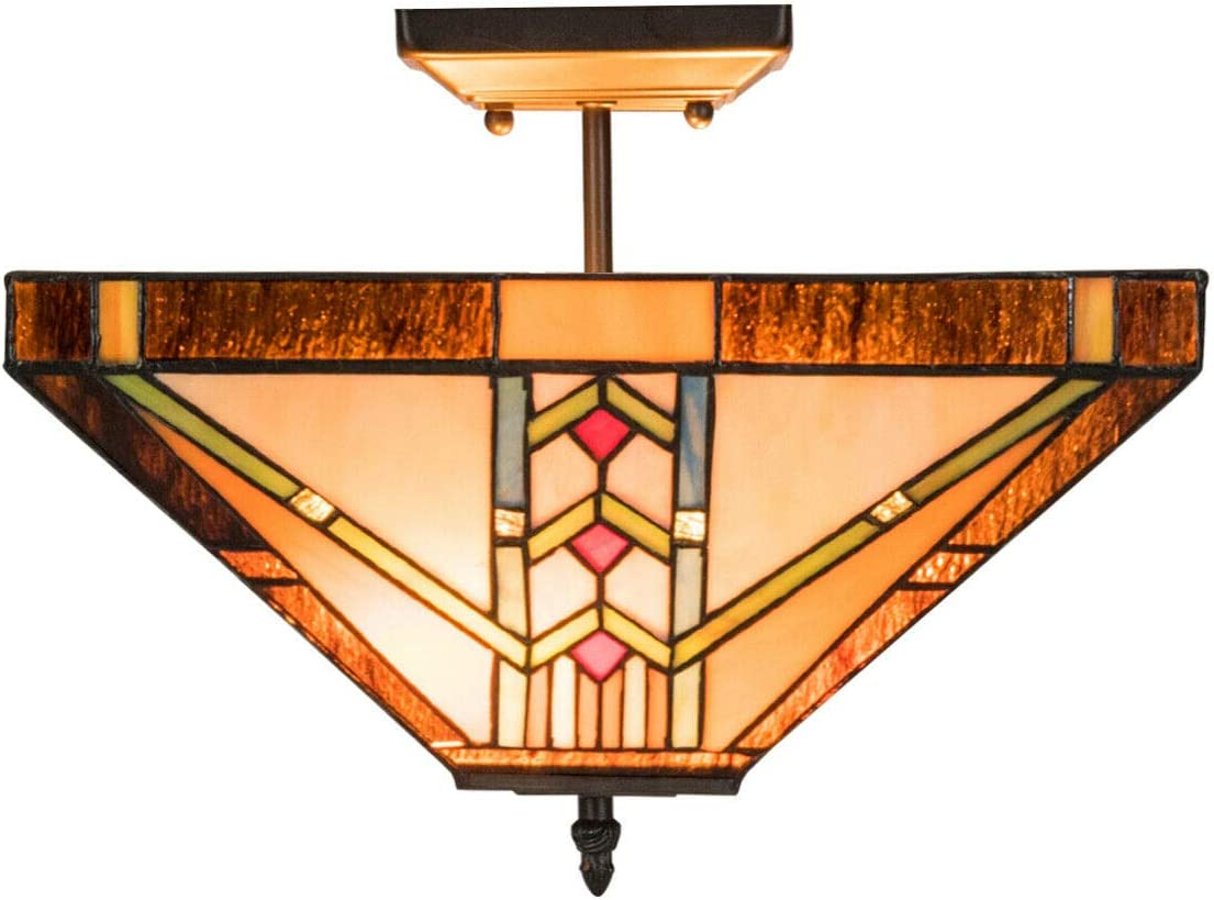 Tangkula Tiffany Style Ceiling Lamp, Stained Glass Lamp Shade Light with Iron, Antique Style Hanging Light, 2 Light Bulbs Pendent Ceiling Fixture, Perfect for Home D cor Golden, 14 inches