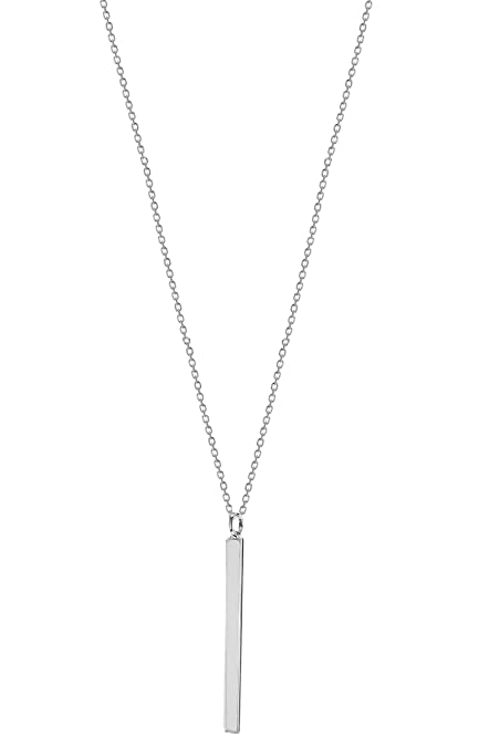 Tuscany Silver Sterling Silver Engravable Horizontal Bar Necklace of 43cm/17 NqhsMa