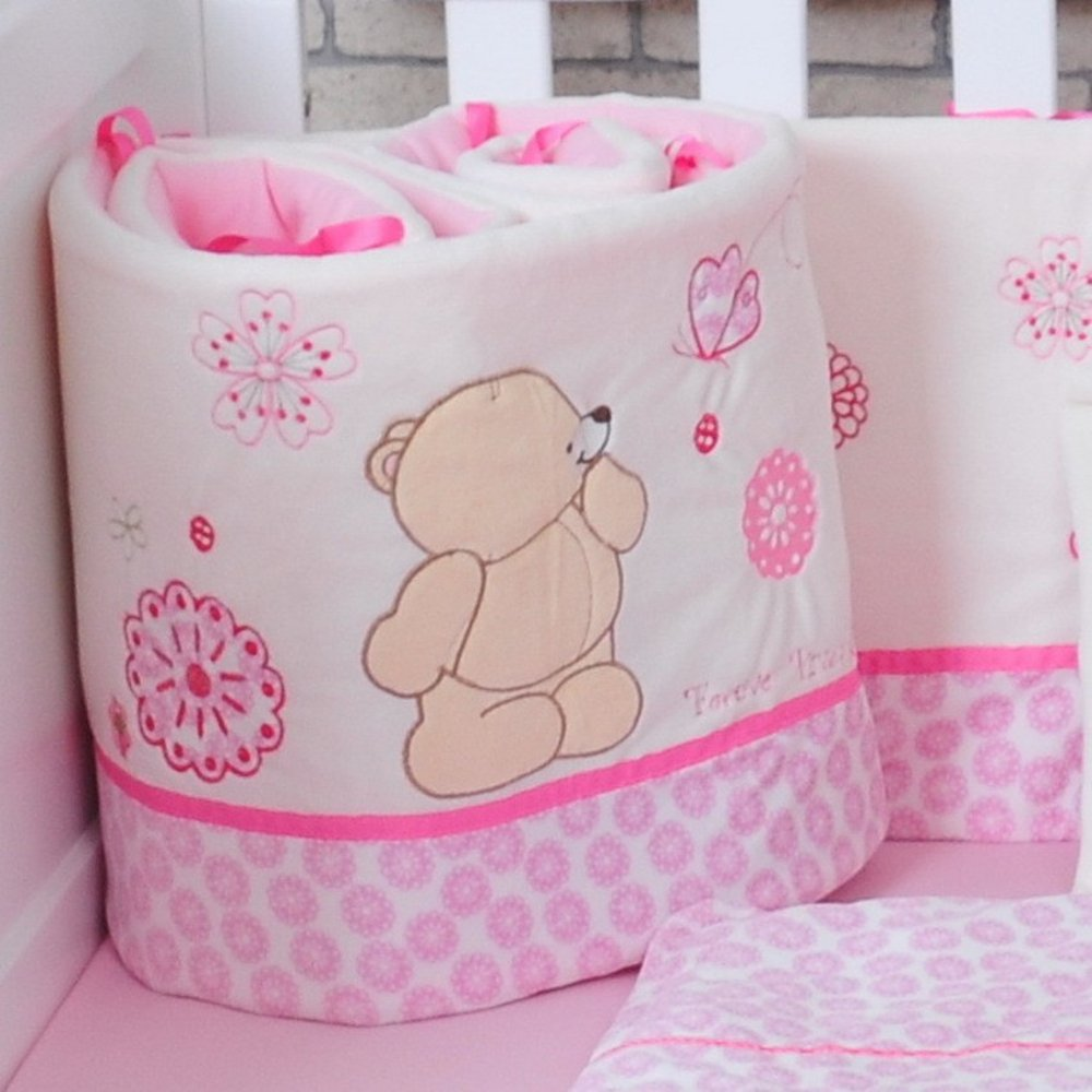 Pink Cartoon Bear Plush Baby Bedding Crib Bumpers Bedding Protection 185cm