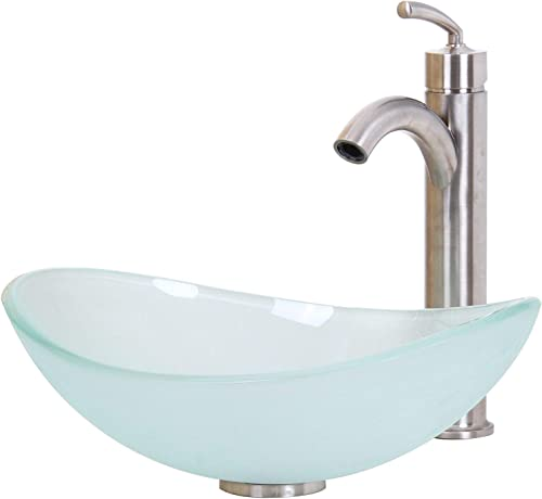ELITE Unique Oval Frosted Tempered Bathroom Glass Vessel Sink Brushed Nickel Single Lever Faucet